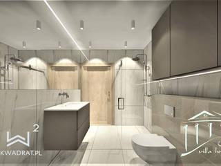 Łazienka w obiekcie hotelowym nad morzem Wkwadrat Architekt Wnętrz Toruń Minimalistyczna łazienka Kamień Beżowy