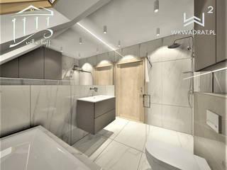 Łazienka w obiekcie hotelowym nad morzem Wkwadrat Architekt Wnętrz Toruń Minimalistyczna łazienka Kamień Brązowy