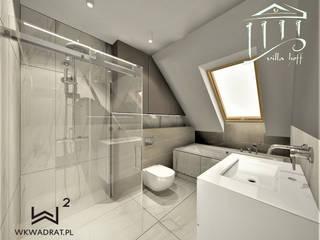 Łazienka w obiekcie hotelowym nad morzem Wkwadrat Architekt Wnętrz Toruń Minimalistyczna łazienka Płyta MDF Brązowy