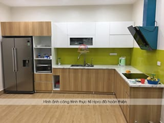 Công trình tủ bếp acrylic kết hợp laminate nhà chị Hương - Số 25 Ngõ 50 Trung Văn: hiện đại  by Nội thất Hpro, Hiện đại
