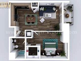Modern One Bedroom Apartment floor plan design company by architectural visualisation studio by Yantram Architectural Animation Design Studio Corporation Modern