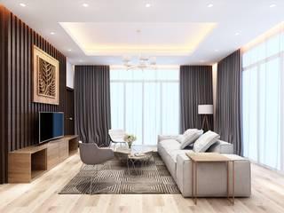 Nguyen Phong Thiết kế nội thất Living room OSB Beige