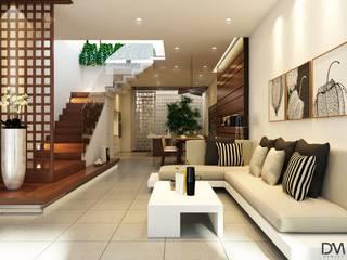 Nguyen Phong Thiết kế nội thất Living room Copper/Bronze/Brass Beige
