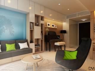 Nguyen Phong Thiết kế nội thất Salas de estar escandinavas MDF Bege