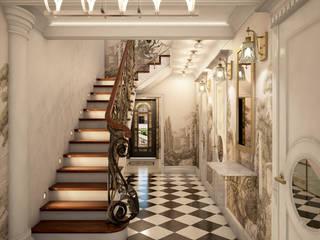 Лестница в загородной доме: Лестницы в . Автор – Студия дизайна АртБюро,