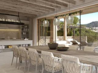 Proyecto con licencia para Construir en Camp de Mar Salones de estilo mediterráneo de Fincas Cassiopea Group / FCG Architects Mediterráneo