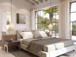 Proyecto con licencia para Construir en Camp de Mar Dormitorios de estilo mediterráneo de Fincas Cassiopea Group / FCG Architects Mediterráneo