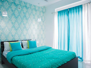 Masterbed Room with cool blue wallpaper by HomeLane.com Modern