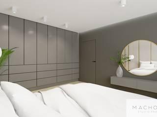 Elegancja w nowoczesnym wydaniu - sypialnia Nowoczesne ściany i podłogi od Machowska Studio Projektowe Nowoczesny