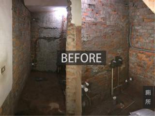 廁所施工前 現代浴室設計點子、靈感&圖片 根據 木博士團隊/動念室內設計制作 現代風