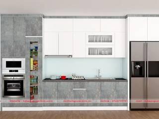 Mẫu tủ bếp gỗ acrylic Hà Nội hiện đại cho nhà nhỏ bởi Nội thất Nguyễn Kim