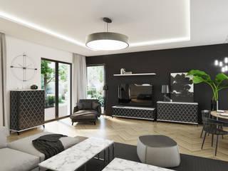 Aranżacja salonu - meble z marokańską koniczyną: styl , w kategorii  zaprojektowany przez Natti - meble z wzorem