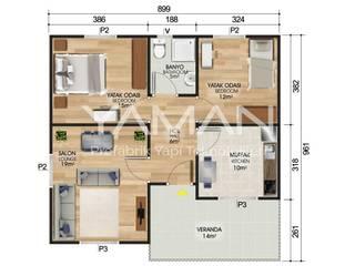 Prefabrik Ev (Yaman Prefabrik) – 84 m2 Prefabrik Ev:  tarz