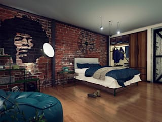 Industrial style bedroom by Minkarq. Arquitectura y construcción Industrial