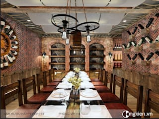 Thiết kế phòng VIP nhà hàng phong cách hầm rượu:   by Công ty TNHH Ông Kien