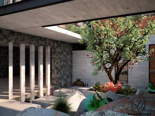 CASA 2 PUENTES: Jardines de estilo  por Mixture Arquitectos, Moderno