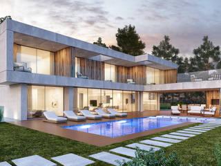 CASA RD1- Moradia na Herdade da Aroeira- Projeto de Arquitetura: Moradias  por Traçado Regulador. Lda,Moderno