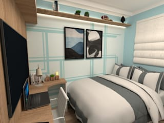 Fareed Arquitetos Associadosが手掛けた小さな寝室, モダン