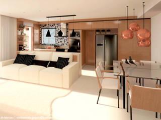Apartamento 128m²: Cozinhas  por Carolina Mendes Arquiteta,Moderno