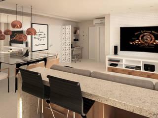 Apartamento 128m²: Salas de estar  por Carolina Mendes Arquiteta,Moderno