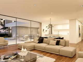 CASA BL1 - Moradia na Herdade da Aroeira - Projeto de Arquitetura: Salas de estar  por Traçado Regulador. Lda,Moderno Madeira Acabamento em madeira
