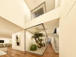 CASA BL1 - Moradia na Herdade da Aroeira - Projeto de Arquitetura Corredores, halls e escadas modernos por Traçado Regulador. Lda Moderno Madeira Efeito de madeira