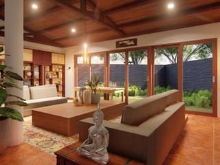 JPSolatorio Architectural Design Services Oficinas y bibliotecas de estilo asiático Marrón