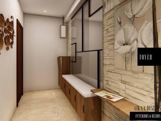 LUXURY 3 BHK APARTMENT INTERIORS AT CHENNAI Modern corridor, hallway & stairs by Aikaa Designs Modern