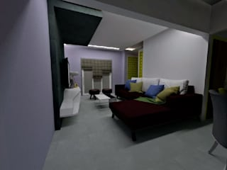 2BHK Home Interior in Wakad by Prointero Interior:  Living room by Prointero Interior,