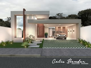 Fachada em Linhas retas por Celis Bender Arquitetura e Interiores Moderno