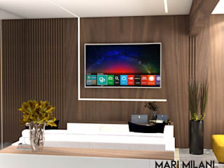 Apartamento Santana: Salas multimídia  por Mari Milani Arquitetura & Interiores,Moderno
