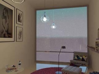 Interiorismo de ambiente de estudio Arq. Bruno Agüero Pasillos, vestíbulos y escaleras modernos