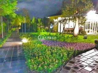 自然歐風花園:  庭院池塘 by 瀧禾實業有限公司,