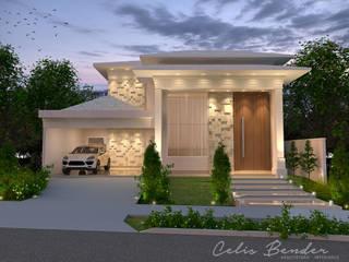 Fachada com vertente clássica com molduras e telhado aparente por Celis Bender Arquitetura e Interiores Clássico