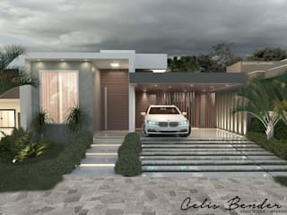 Casa com pegada industrial por Celis Bender Arquitetura e Interiores Industrial