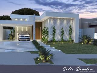 Fachada clean em condomínio por Celis Bender Arquitetura e Interiores Moderno