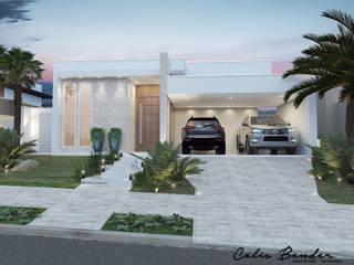 Fachada moderna com tons suaves Casas modernas por Celis Bender Arquitetura e Interiores Moderno