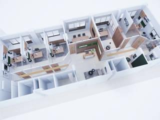 Escritório Corporativo - planta aérea: Escritórios  por Gelker Ribeiro Arquitetura | Arquiteto Rio de Janeiro,Moderno Madeira maciça Multi colorido