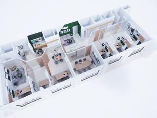 Escritório Corporativo - planta: Escritórios  por Gelker Ribeiro Arquitetura | Arquiteto Rio de Janeiro,Moderno Derivados de madeira Transparente