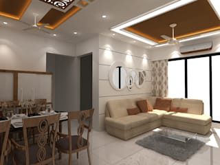 SEEMA PARENTS ROOM ( 2 BHK ) Modern living room by Clickhomz Modern