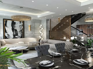 Duplex Apartment | El Banafseg:  Dining room by Saif Mourad Creations, Classic