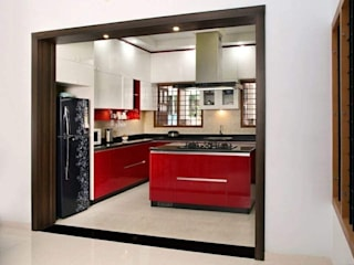 classicspaceinterior KitchenCabinets & shelves Plywood Red