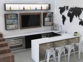 Diseño y Elaboración de Bar Residencial Bodegas modernas de Isometría Moderno