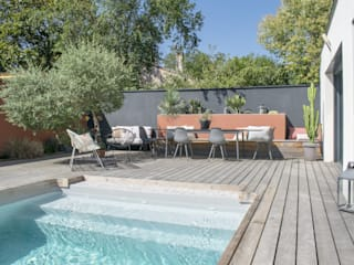 E/P ESPACE DESIGN - Emilie Peyrille Garden Pool Wood Orange