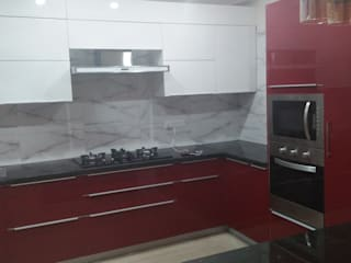 Grey-Woods KitchenCabinets & shelves Kayu Buatan Red