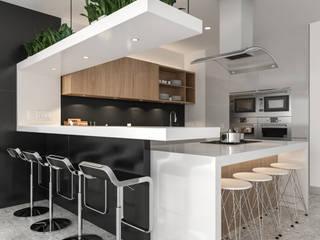 Cocina integral con barra de bar. Juve 3D Studio Cocinas equipadas Blanco