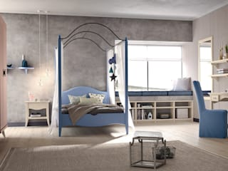Mobili a Colori Girls Bedroom Solid Wood Blue