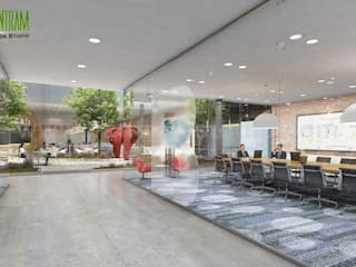 Modern Large Office Interior & Exterior Design Ideas by Walkthrough Architectural Design Studio, Dublin – Ireland Klasik Koridor, Hol & Merdivenler Yantram Architectural Design Studio Klasik
