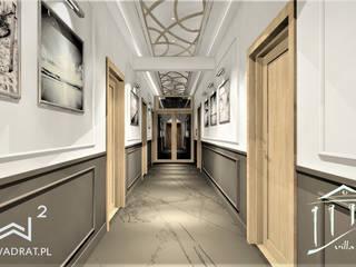Korytarz w obiekcie hotelowym Trzęsacz Wkwadrat Architekt Wnętrz Toruń Klasyczny korytarz, przedpokój i schody Marmur Brązowy