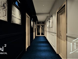Korytarz w obiekcie hotelowym Trzęsacz Wkwadrat Architekt Wnętrz Toruń Klasyczny korytarz, przedpokój i schody Płyta MDF Niebieski